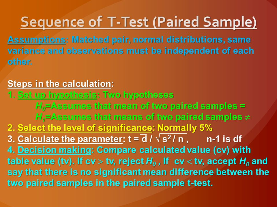 Sequence of T-Test (Paired Sample)