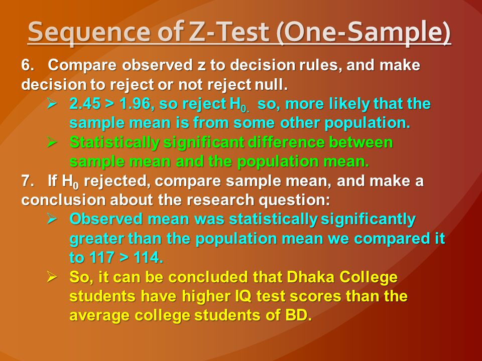 Sequence of Z-Test (One-Sample)