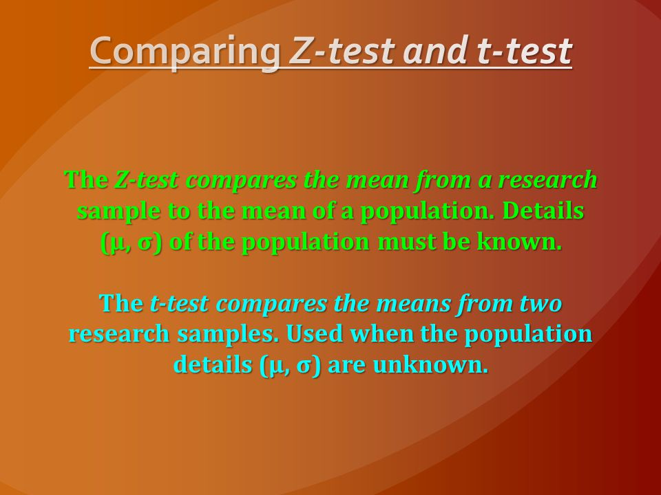 Comparing Z-test and t-test