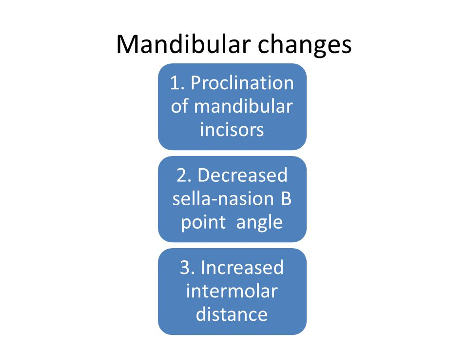 Mandibular changes 1. Proclination of mandibular incisors