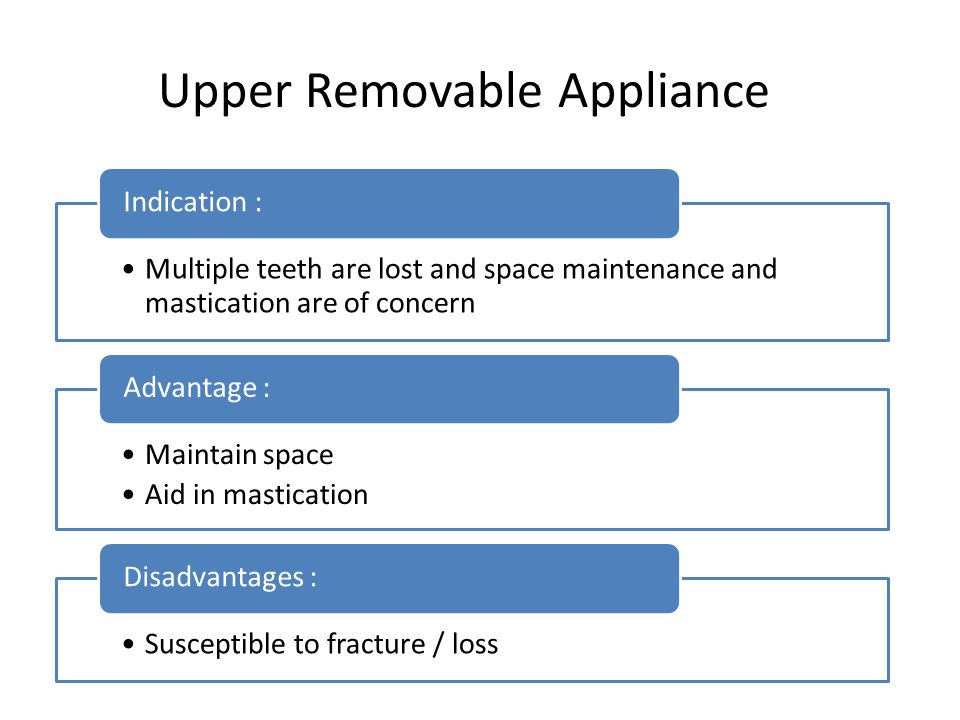 Upper Removable Appliance