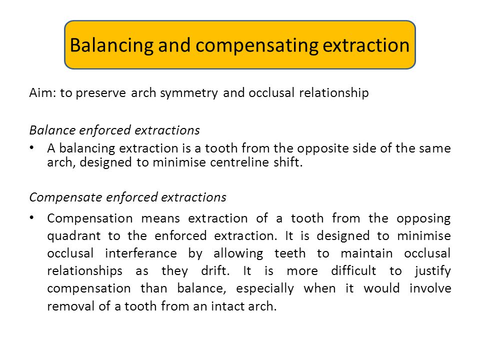 Balancing and compensating extraction