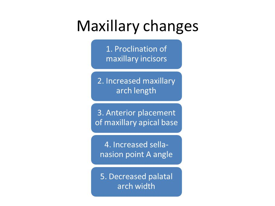 Maxillary changes 1. Proclination of maxillary incisors