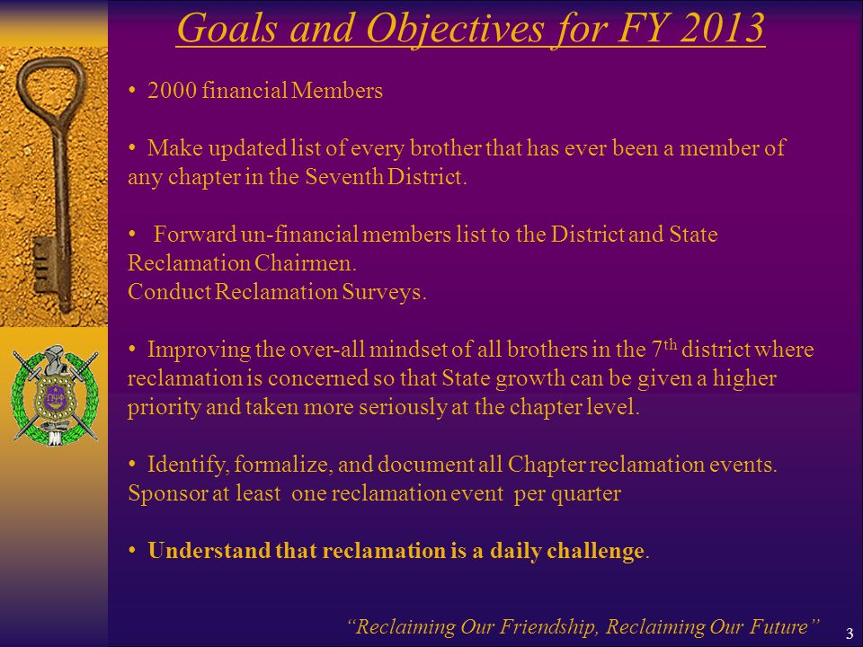 Goals and Objectives for FY 2013