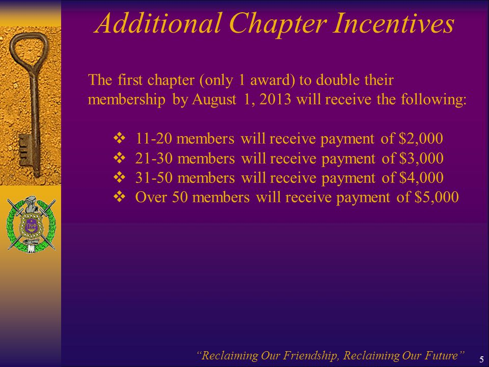 Additional Chapter Incentives
