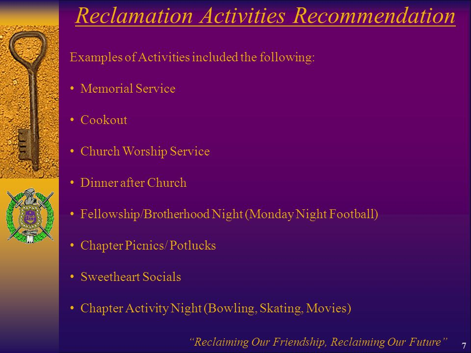 Reclamation Activities Recommendation