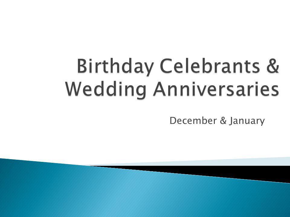 Birthday Celebrants & Wedding Anniversaries