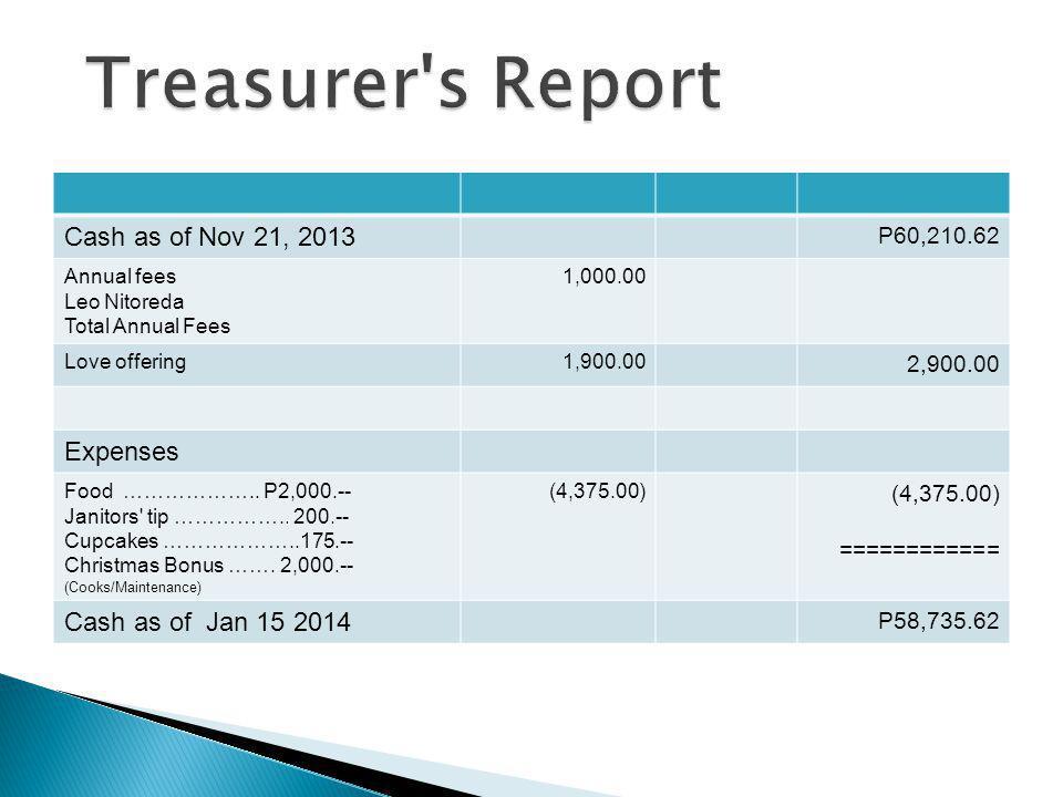 Treasurer s Report Cash as of Nov 21, 2013 Expenses