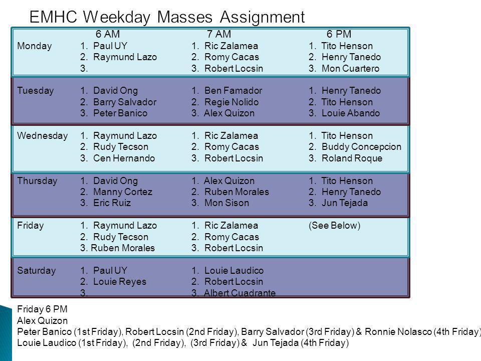 EMHC Weekday Masses Assignment