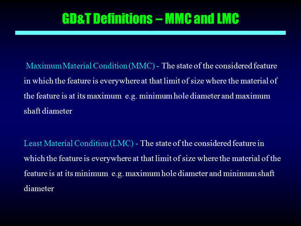 GD&T Definitions – MMC and LMC