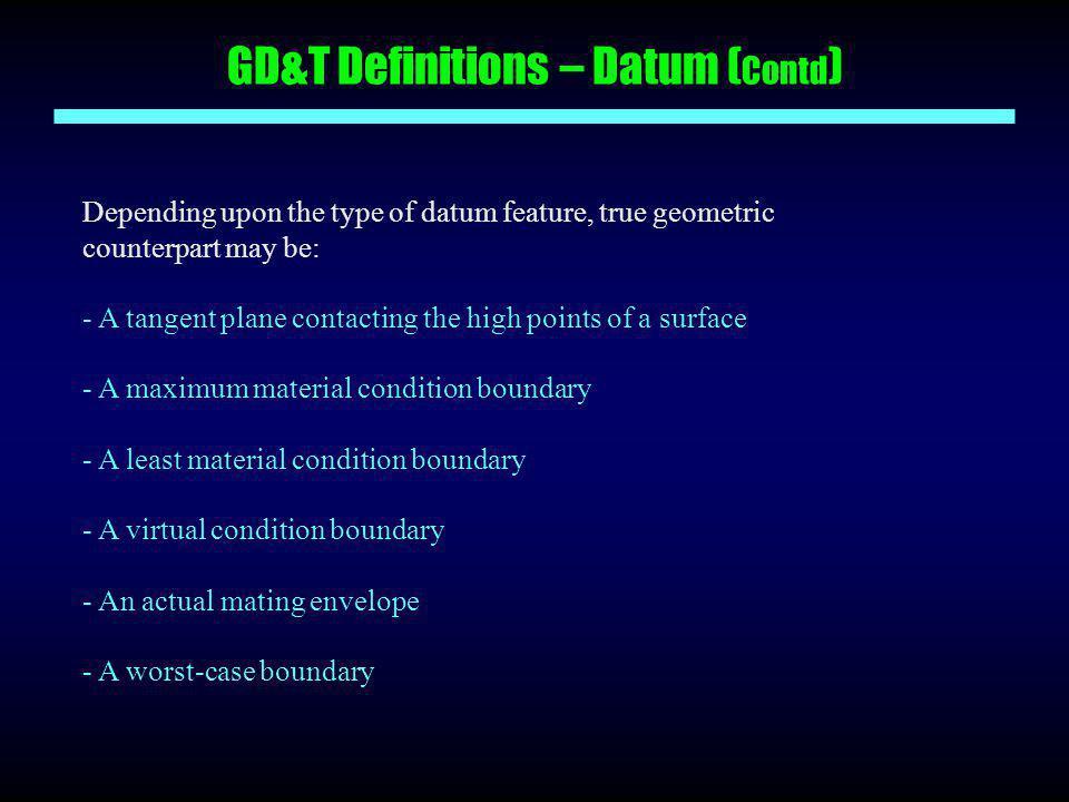GD&T Definitions – Datum (Contd)