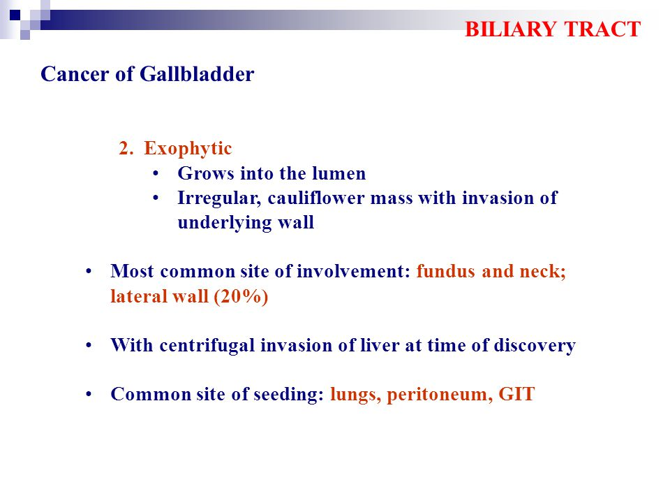 BILIARY TRACT Cancer of Gallbladder Exophytic Grows into the lumen