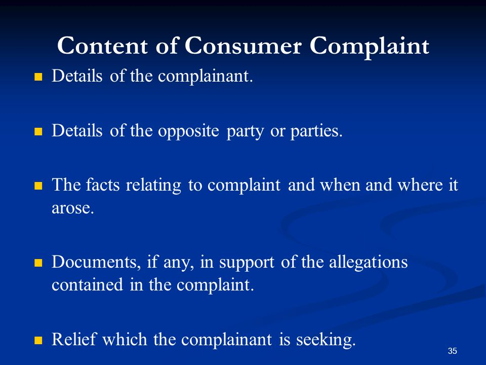 Content of Consumer Complaint