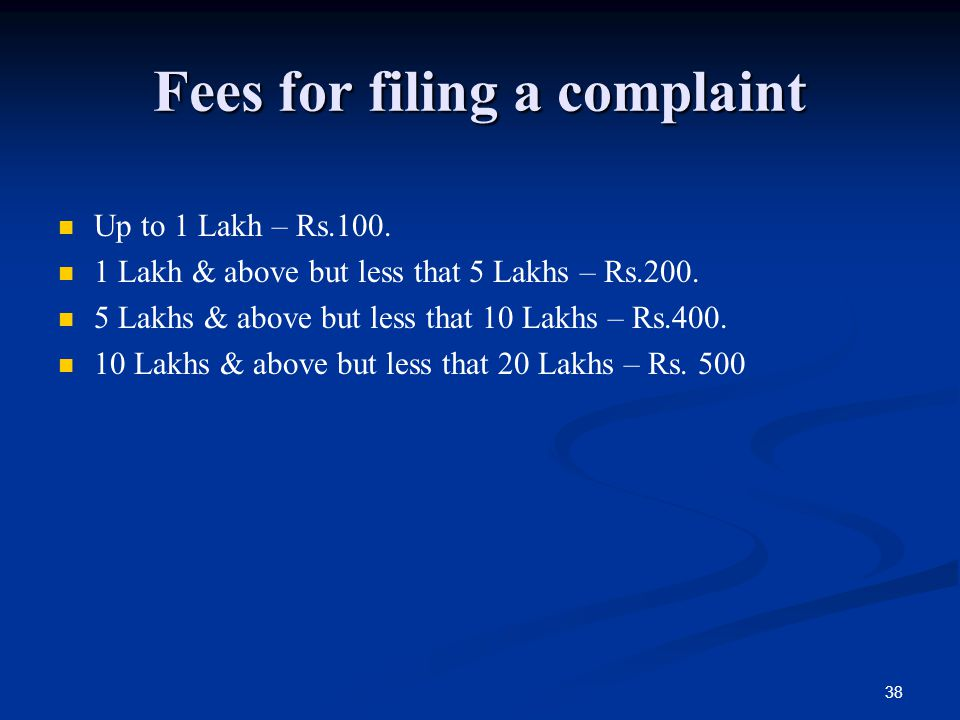 Fees for filing a complaint