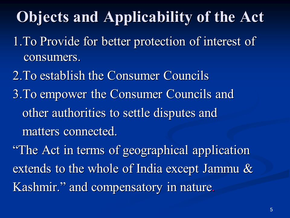 Objects and Applicability of the Act