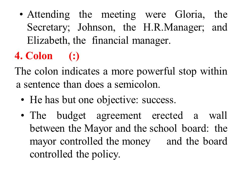 Attending the meeting were Gloria, the Secretary; Johnson, the H. R