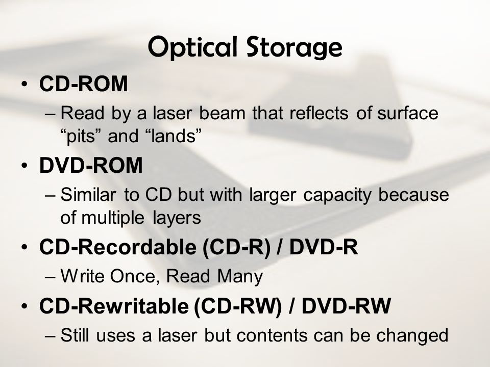 Optical Storage CD-ROM DVD-ROM CD-Recordable (CD-R) / DVD-R