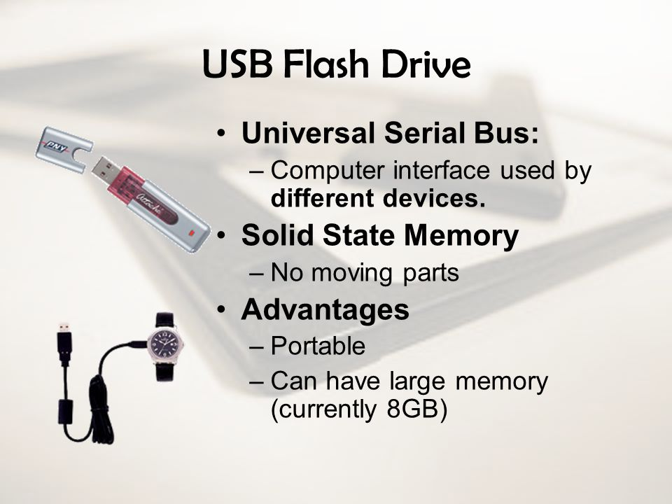 USB Flash Drive Universal Serial Bus: Solid State Memory Advantages