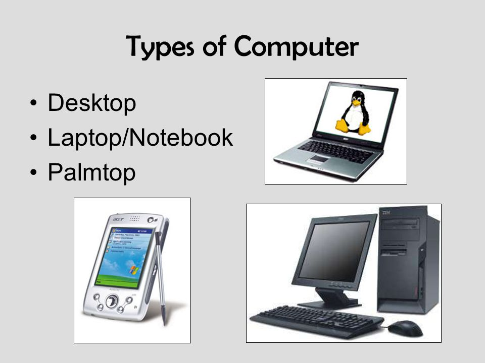 Types of Computer Desktop Laptop/Notebook Palmtop