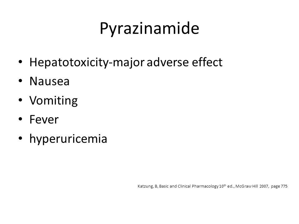Pyrazinamide Hepatotoxicity-major adverse effect Nausea Vomiting Fever