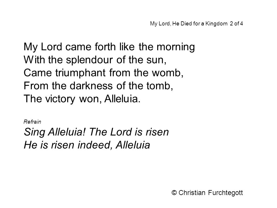 My Lord came forth like the morning With the splendour of the sun,
