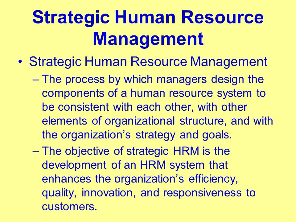 human resource management strategy Strategic management and hrm  the strategic management and human resource  considering a firm's business strategy when developing a human resource plan.
