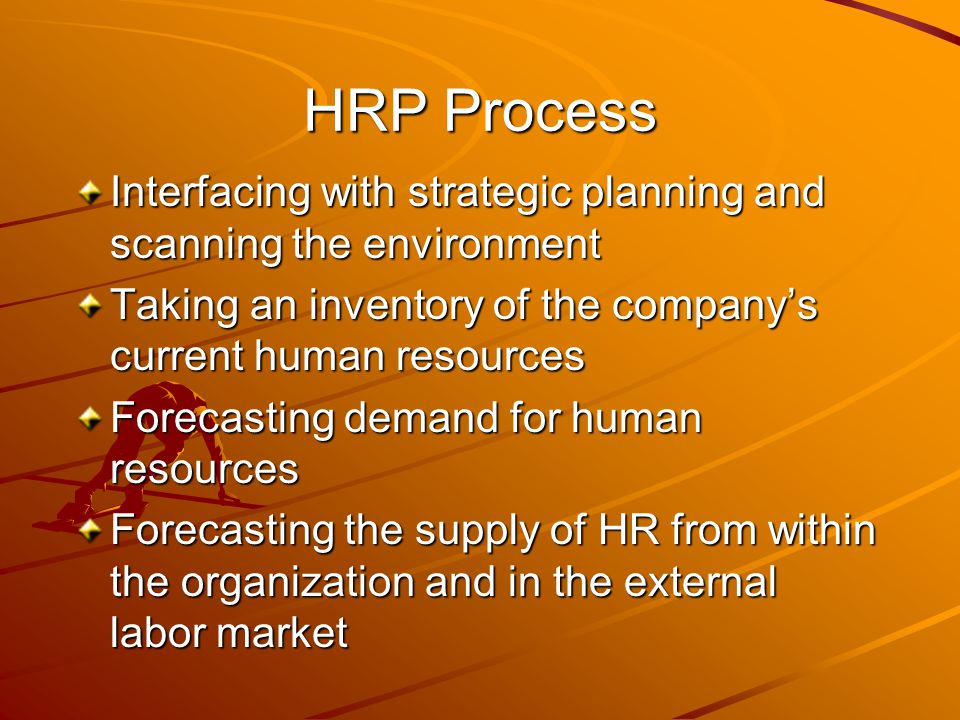 HRP Process Interfacing with strategic planning and scanning the environment. Taking an inventory of the company's current human resources.