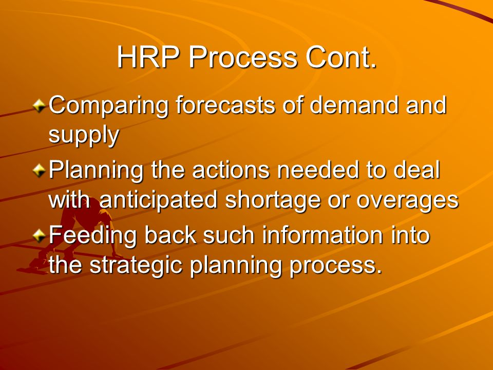 HRP Process Cont. Comparing forecasts of demand and supply