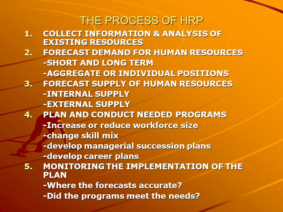 THE PROCESS OF HRP COLLECT INFORMATION & ANALYSIS OF EXISTING RESOURCES. FORECAST DEMAND FOR HUMAN RESOURCES.