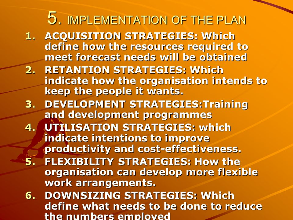 5. IMPLEMENTATION OF THE PLAN