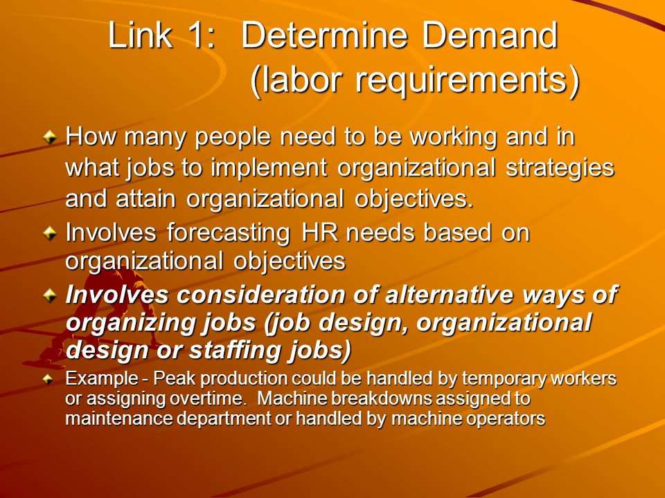 Link 1: Determine Demand (labor requirements)