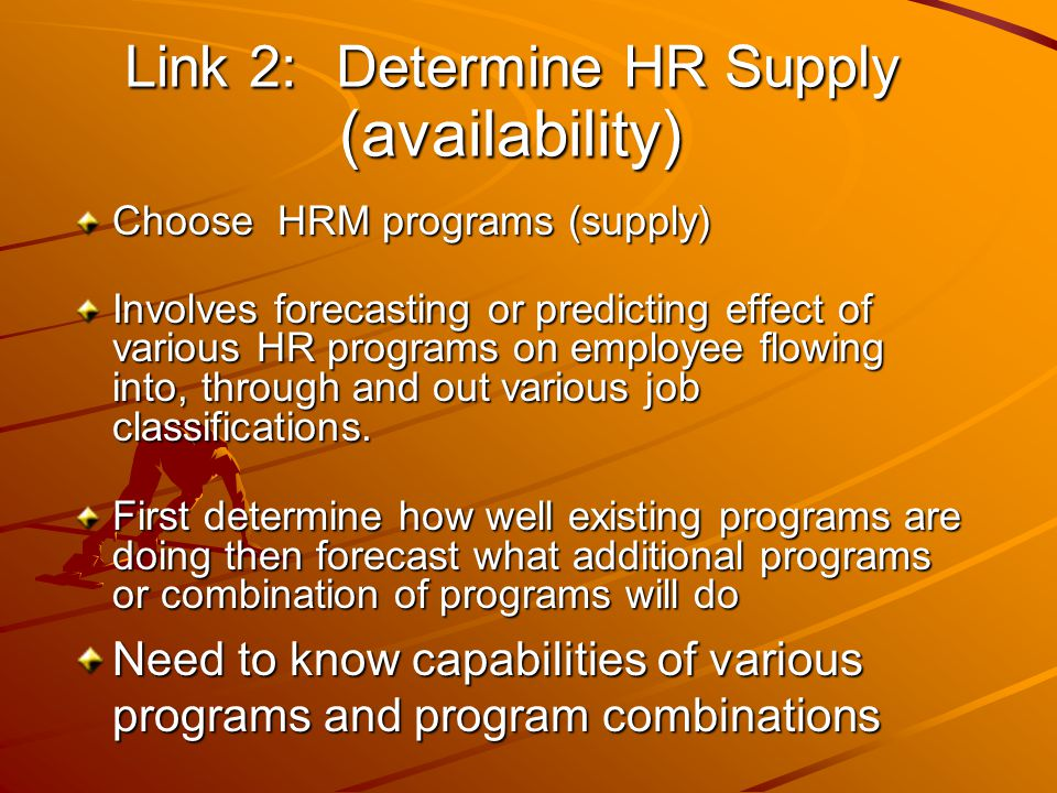 Link 2: Determine HR Supply (availability)
