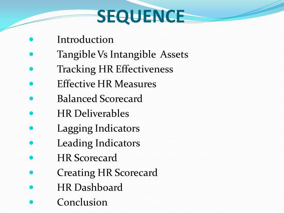 SEQUENCE Introduction Tangible Vs Intangible Assets