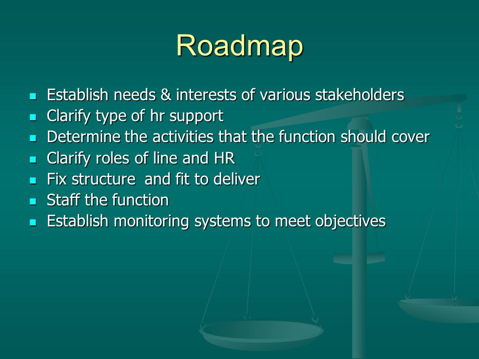 Roadmap Establish needs & interests of various stakeholders