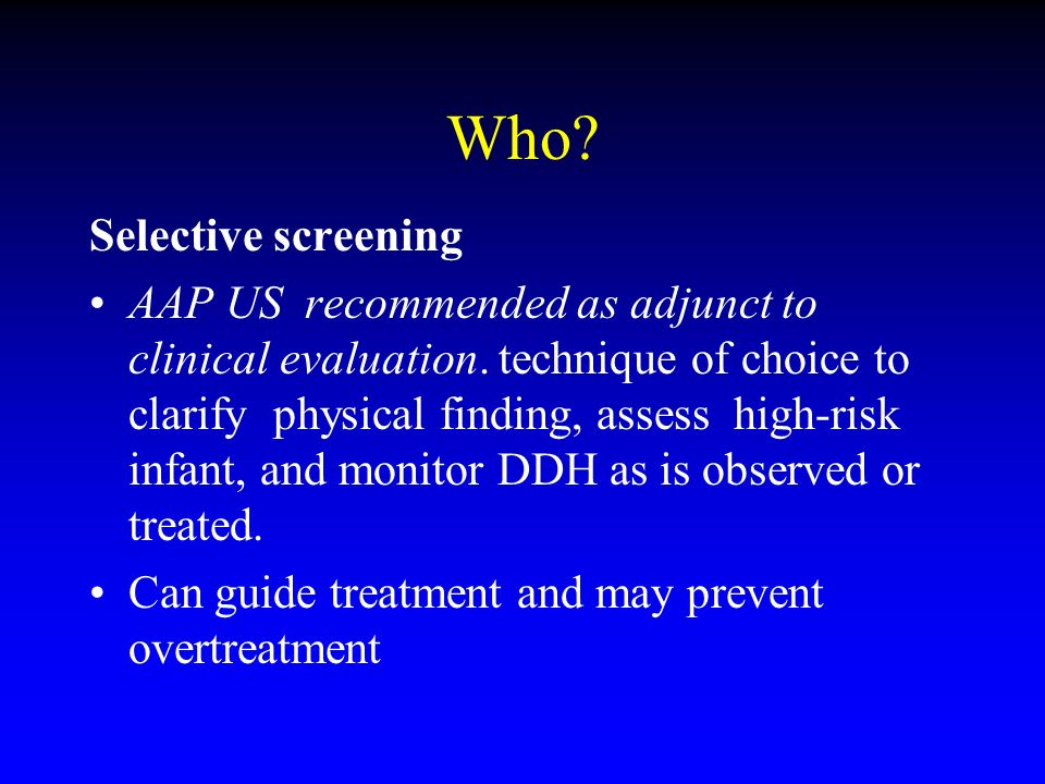 Who Selective screening