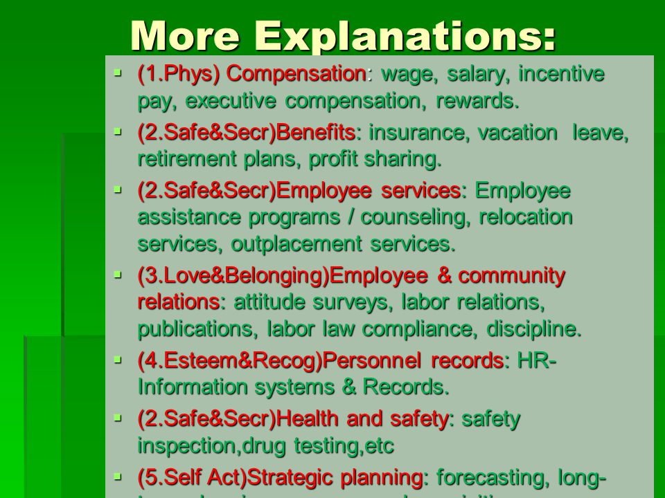 More Explanations: (1.Phys) Compensation: wage, salary, incentive pay, executive compensation, rewards.