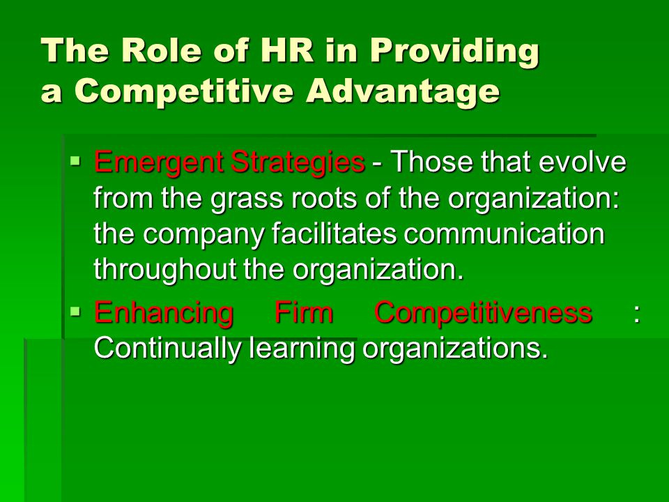 The Role of HR in Providing a Competitive Advantage
