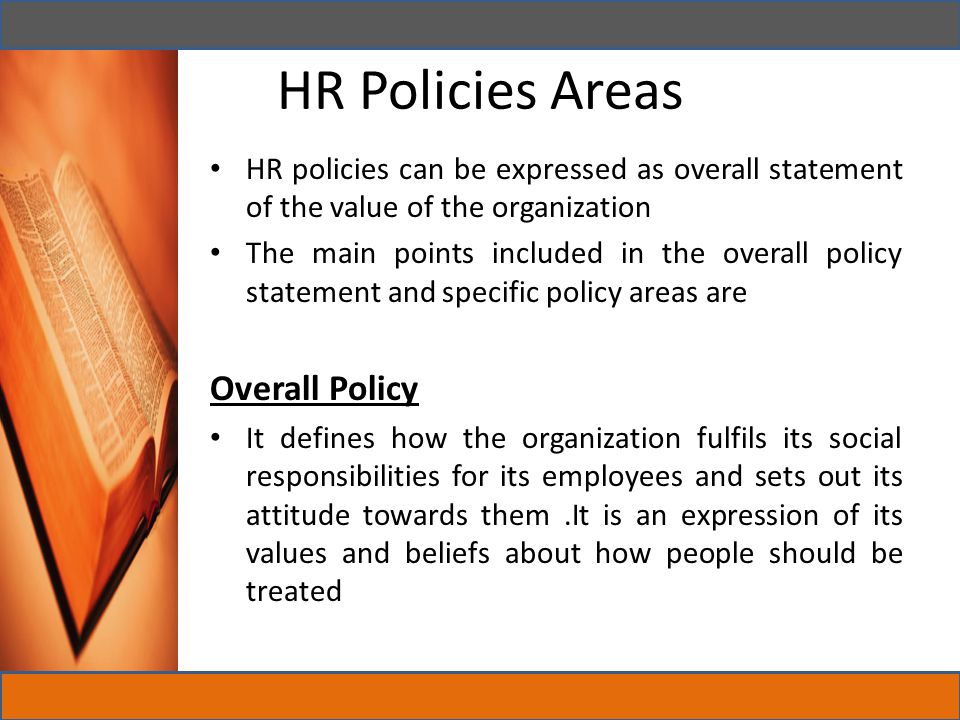 HR Policies Areas Overall Policy