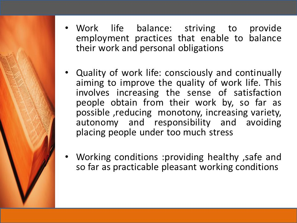 Work life balance: striving to provide employment practices that enable to balance their work and personal obligations