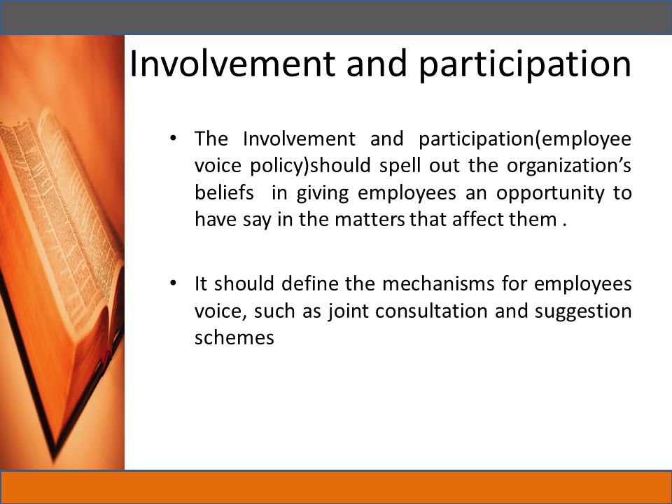 Involvement and participation