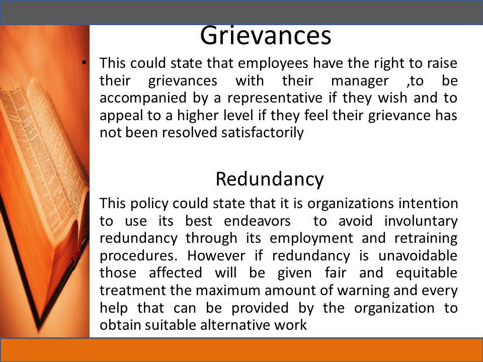 Grievances Redundancy