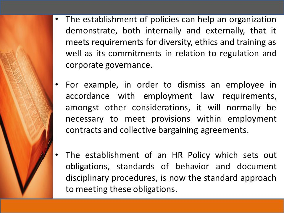 The establishment of policies can help an organization demonstrate, both internally and externally, that it meets requirements for diversity, ethics and training as well as its commitments in relation to regulation and corporate governance.