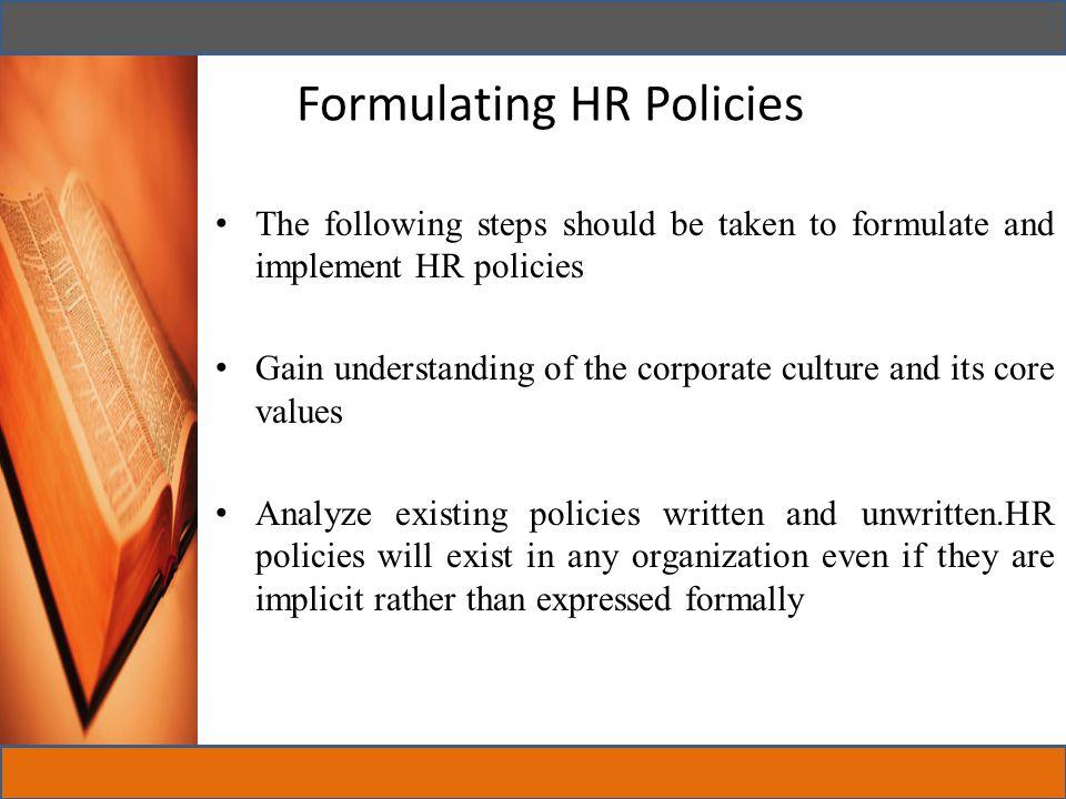 Formulating HR Policies