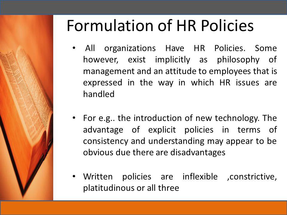 Formulation of HR Policies
