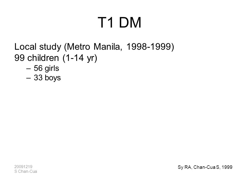 T1 DM Local study (Metro Manila, 1998-1999) 99 children (1-14 yr)