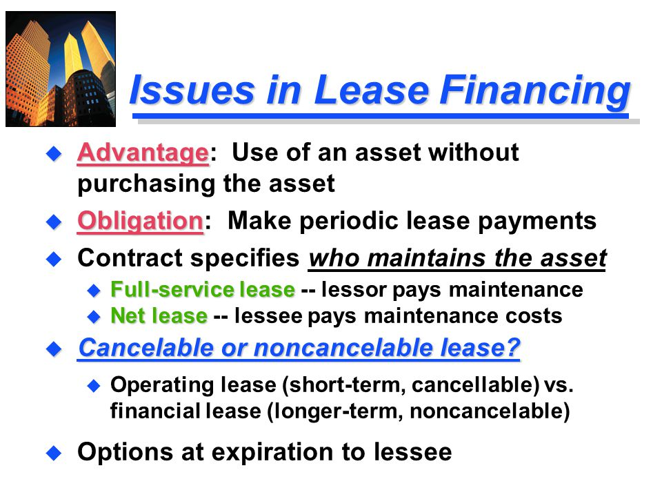 Issues in Lease Financing