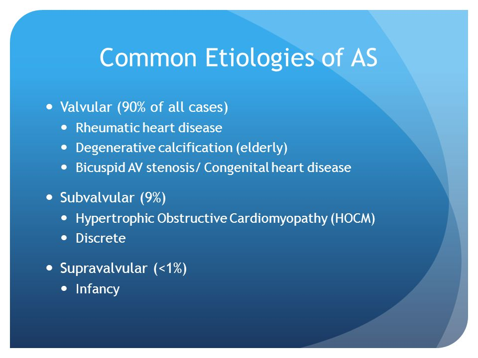 Common Etiologies of AS