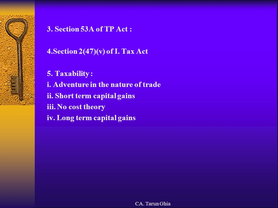 4.Section 2(47)(v) of I. Tax Act 5. Taxability :