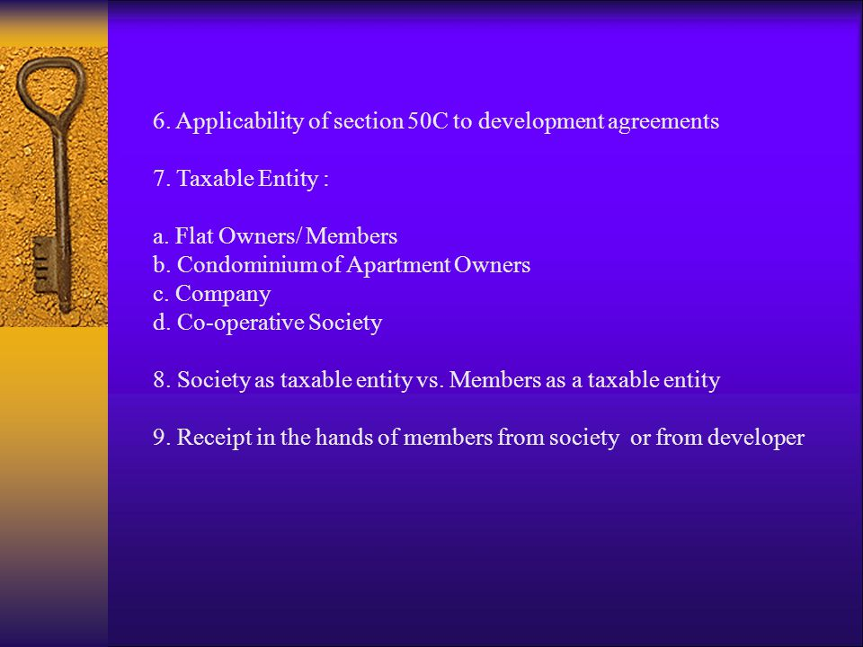 6. Applicability of section 50C to development agreements