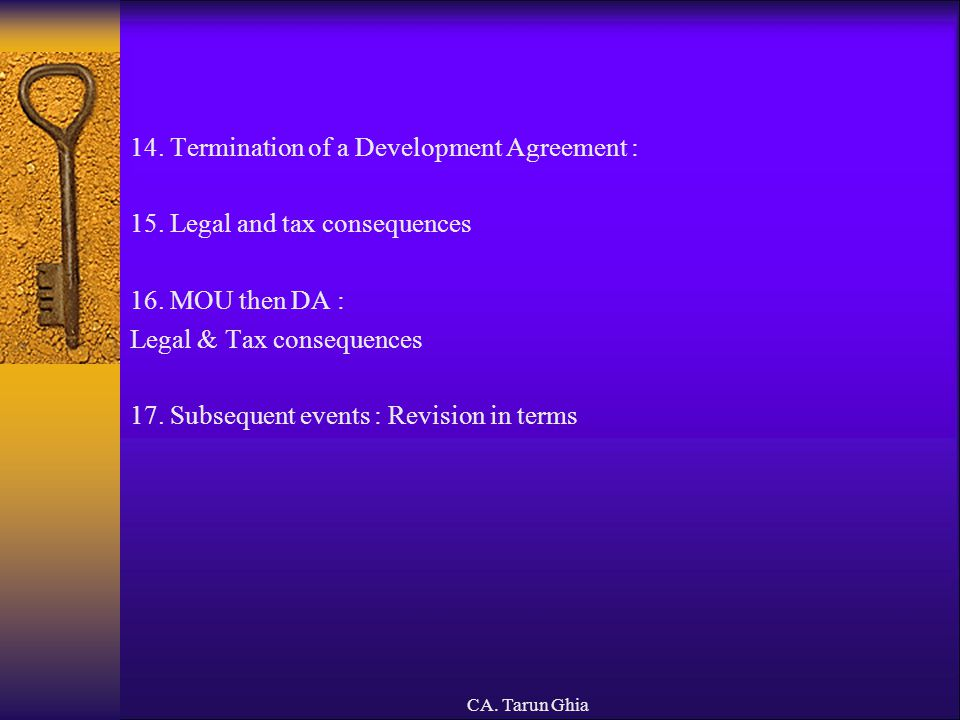14. Termination of a Development Agreement :